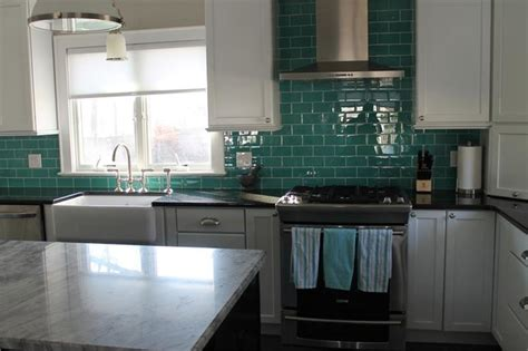 teal tile backsplash teal glass subway tile backsplash modern kitchen