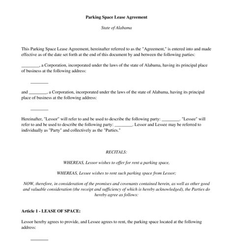 car lease agreement template uk parking space lease agreement template uk parking space
