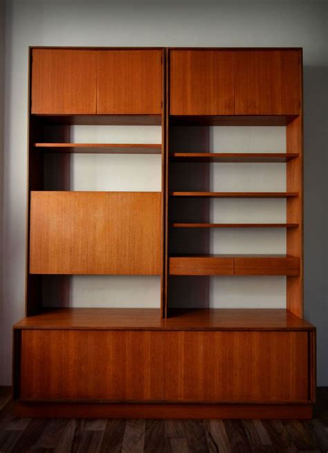 vintage  plan form   piece teak modular wall unit