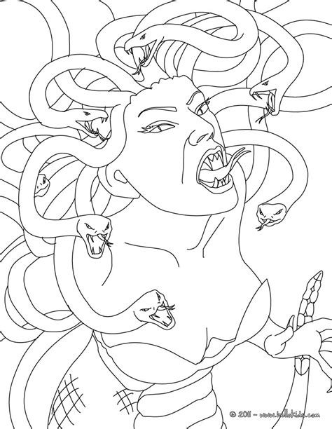 medusa the gorgon with snake hair coloring pages