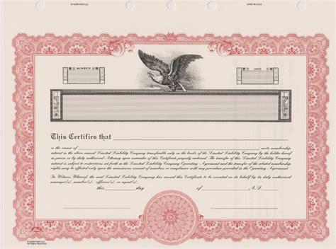 Llc Stock Certificates Llc Certificate Template