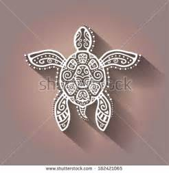 decorative graphic turtle tattoo style tribal totem