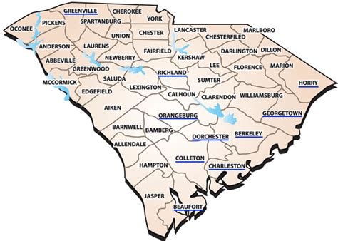 map of south carolina with cities map of south carolina coastal towns pictures to pin on