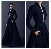 Navy Blue Satin Evening Dresses 2016 Paolo Sebastian