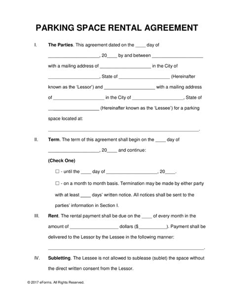 Letter For Rent Space Free Parking Space Rental Lease Agreement Template Pdf Word Eforms Free Fillable Forms
