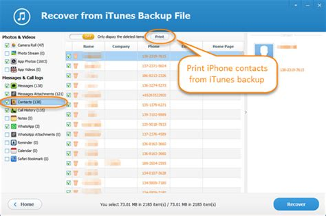 iphone contacts backup how to print your iphone contact list from itunes