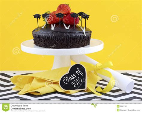 32896 Black White Yellow Collage S M L Top graduation day with chocolate cake stock photo