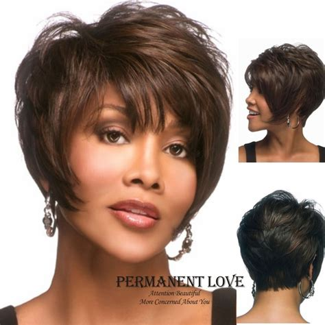 short hairstyle wigs for black women african american celebrity wigs natural black straight