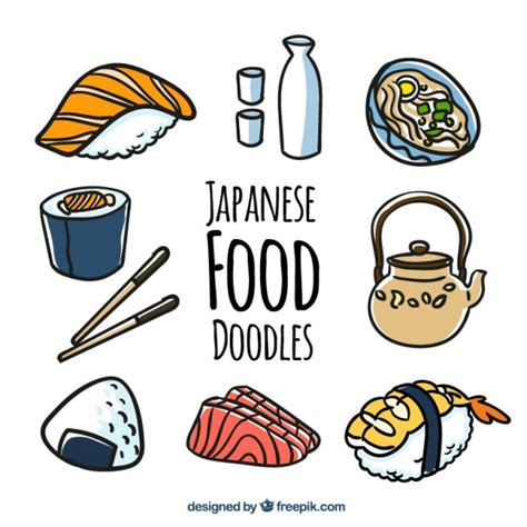 doodle food vector free japanese food doodles vector free