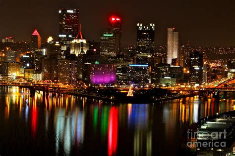 christmas lights pittsburgh 2017 pittsburgh christmas at night photograph by jay nodianos