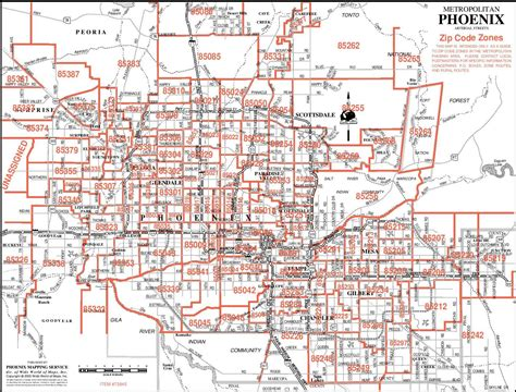 zip code map for phoenix zip codes phoenix arizona map