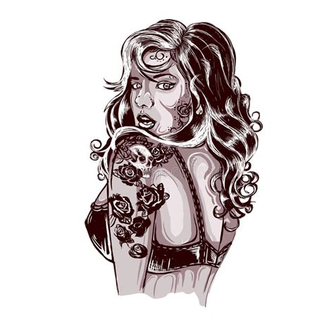 tattoo lady cartoon vibrant rockabilly woman with tattoo on arms stock vector