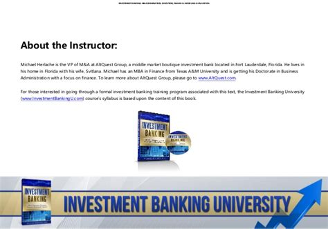 Pre Mba Internship Investment Banking by Investment Banking Course Investment Banking