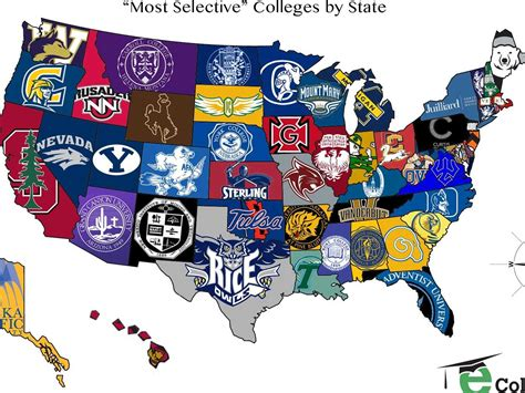 college map the most selective college in each state map business