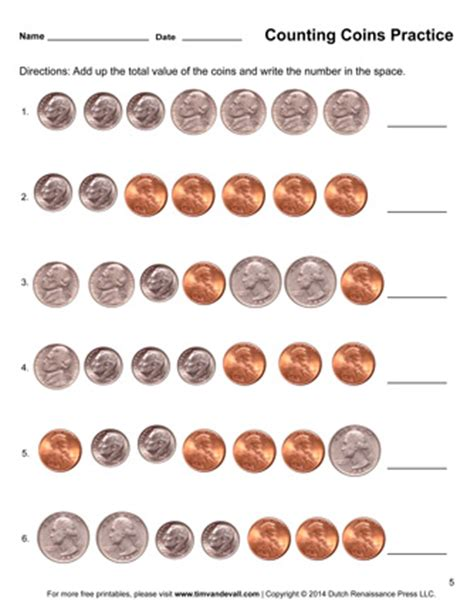 Coin Values Worksheet by Counting Coins Worksheets Printable Grade Math