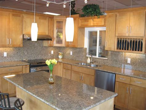 Canadian Granite Countertops by Canadian Maple Shaker Style Cabinets With Giallo Venez Granite Yelp