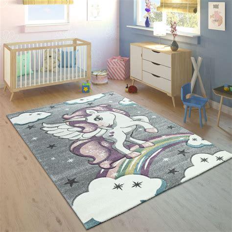 kinderzimmer teppich bunt kinderteppich regenbogen einhorn bunt grau kinder teppiche
