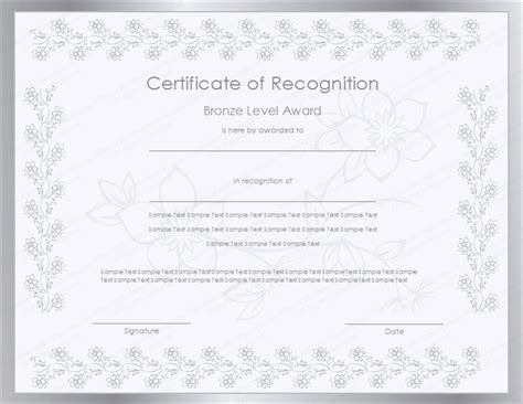 silver level certificate of recognition template
