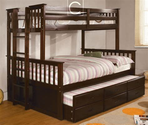 bunk bed full and twin twin over full university espresso bunk bed twin trundle