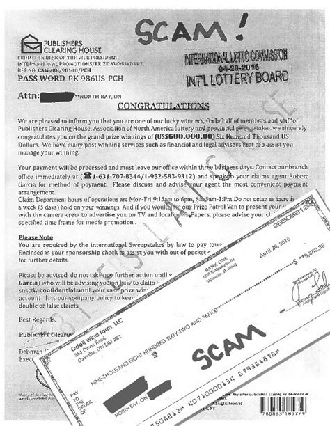 Publishers Clearing House Fraud - publishers clearing house scam letter baytoday ca