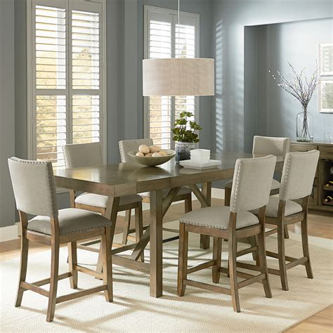 pennsylvania house forecast trestle table dining set atg zenith omaha grey counter height 7 piece trestle table