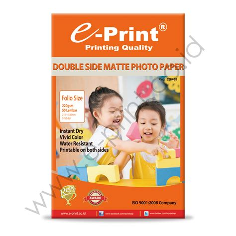 Kertas Foto Bolak Balik Photo Paper Side Glossy 260gsm side matte inkjet paper folio 220gsm e print