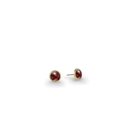 18k yellow gold garnet stud earrings jaipur color
