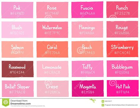 pink color shades pink tone color shade background with code and name stock