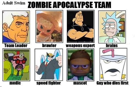 Adult Swim Meme - adult swim zombie apocalypse team by sekele on deviantart