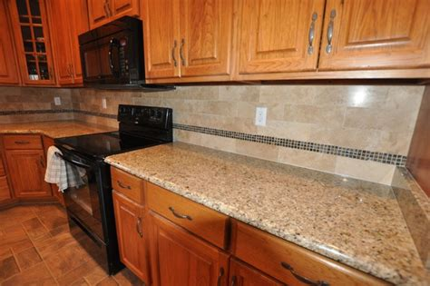 Kitchen Countertop Tiles Ideas Granite Countertops And Tile Backsplash Ideas Eclectic Kitchen Indianapolis By Supreme