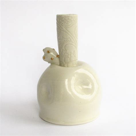 Gold And White Vase by Flower Vase In White Gold 171 Enshu Ceramics