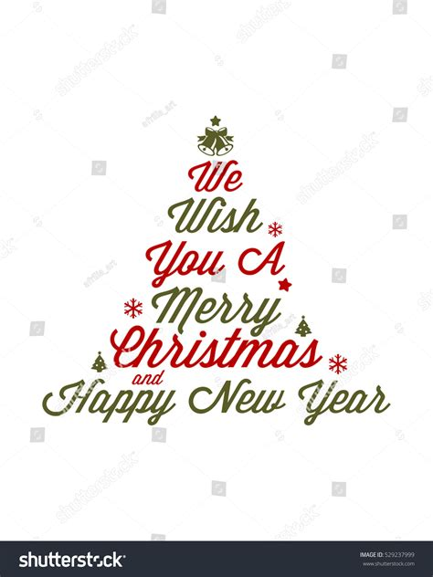 merry christmas   happy  year lettering design  stock vector illustration