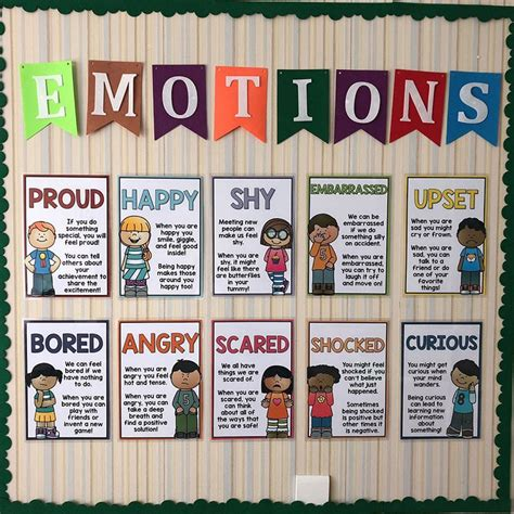 pcsset emotions english teaching aids  cards classroom wall decoration bilingual