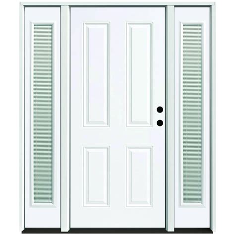 Blinds For Front Doors Steves Sons 68 In X 80 In 4 Panel Primed White Left Steel Prehung Front Door With 14 In