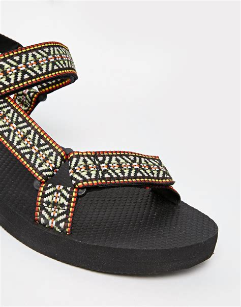 aztec sandals asos sandals with aztec print in black for lyst