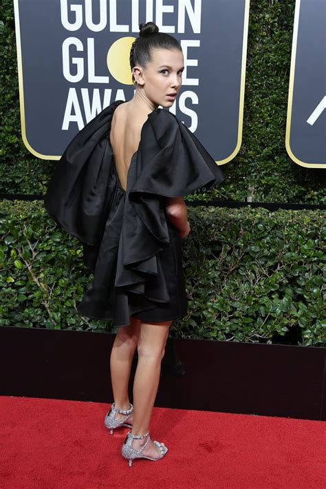 Bobby Dress millie bobby brown s black dress at the golden globes 2018