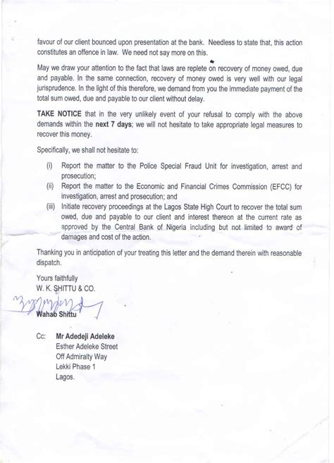 Demand Letter Car Dealership Lawyer To Car Dealer Gives Davido Seven Days Ultimatum Dud Cheque Photos Information