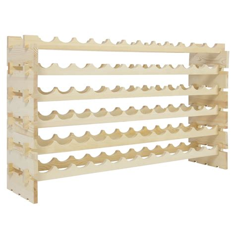 wine rack 72 bottles stackable storage 6 tier solid wood