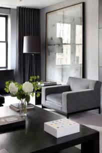 gray interior moody masculine gray charcoal black ivory living