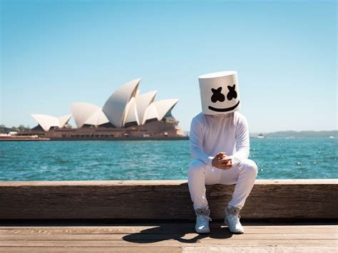 desktop wallpaper marshmello dj  sitting hd image