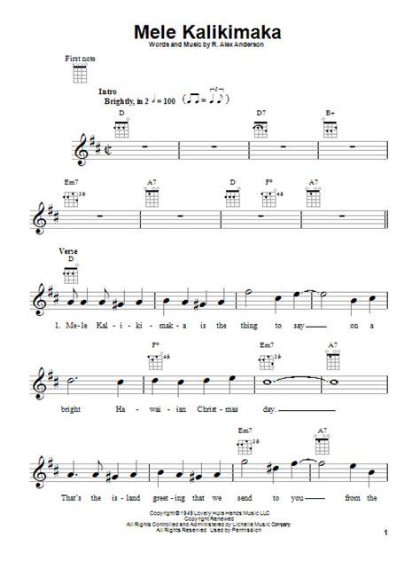 printable lyrics to mele kalikimaka mele kalikimaka sheet music by bing crosby ukulele 81702