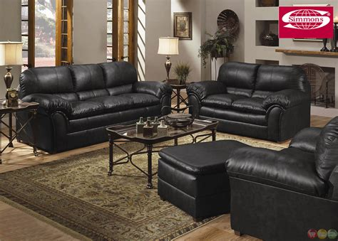 Geneva Black Bonded Leather Casual Living Room Set Black Living Room Set