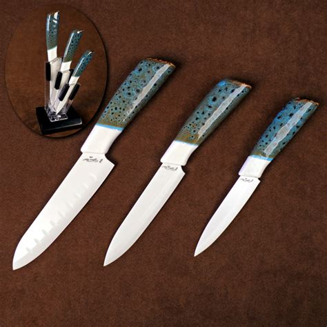 Kitchen Knives Store Three Ceramic Kitchen Cutlery Set With Counter Top