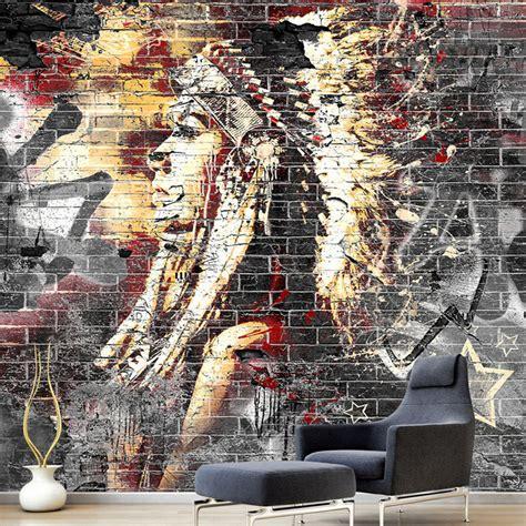 Handmade Wall Murals - custom wallpaper murals 3d graffiti wood grain brick
