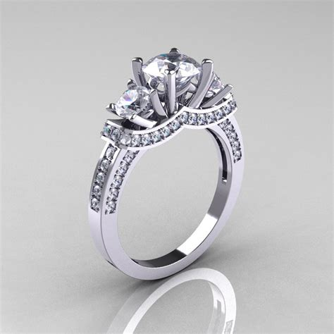950 platinum three russian cubic zirconia