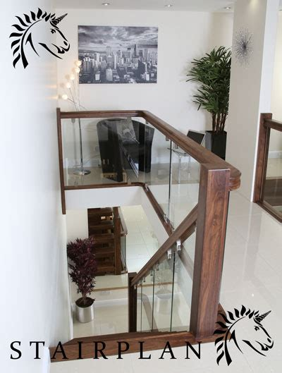 Glass Handrails For Stairs Black Walnut Balustrade X Vision Glass With Brackets