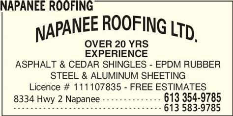 Napanee Roofing Opening Hours 8334 Hwy 2 Greater