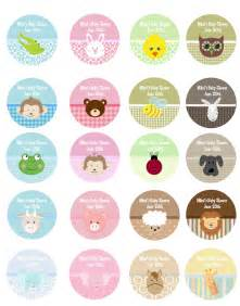 baby shower label template for favors baby animals personalized sticker labels baby animals