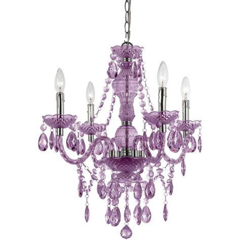 Af Lighting Chandelier Af Lighting Naples 4 Light Chrome Mini Chandelier With Light Purple Plastic Bead Accents 8353 4h