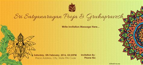 satyanarayan puja invitation card template free satyanarayan puja invitation card invitations